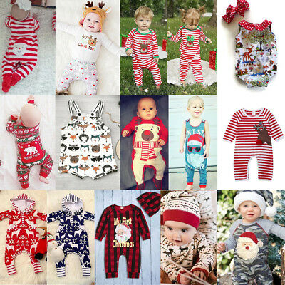 a250ba467 Hat Newborn Baby Boys Girls Christmas Reindeer Romper Jumpsuit Clothes  Outfits Baby & Toddler Clothing