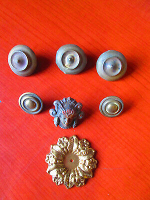 Lot of 7 Antique Brass Furniture Mount Ormolu buttons, ladys face Vintage (319Y)