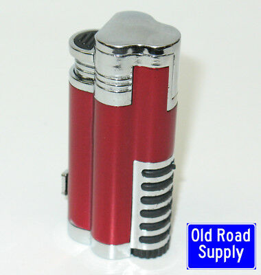 Old Road Pop3 Red Triple Blue Jet Torch Lighter Cigar Retractible Punch Cutter