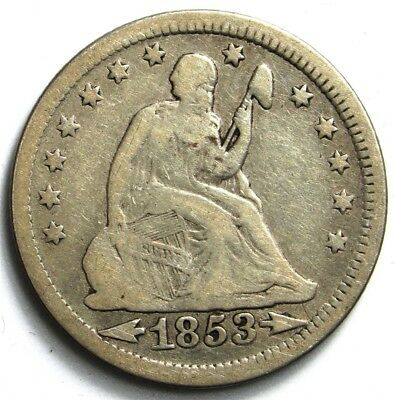 1853-O Seated Liberty Quarter, Arrows & Rays - VG+ - 25c Silver - Very Good