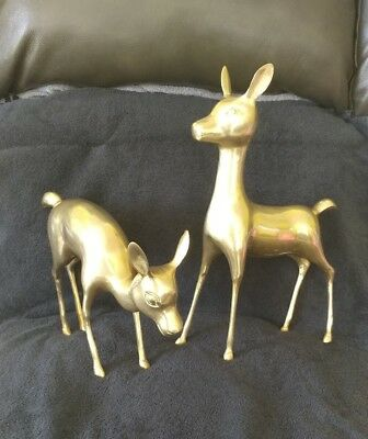 Vtg Lg. Set Solid Brass Deer Fawn Figurines Wildlife Up To 15.5 Inches Tall