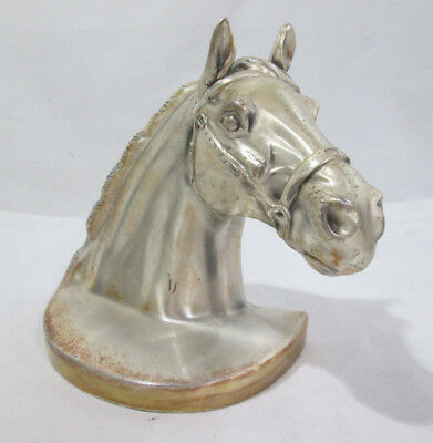 """Vintage PMC 89B Single Horse Bookend, Midcentury Brushed Metal 7""""x4""""x8"""""""