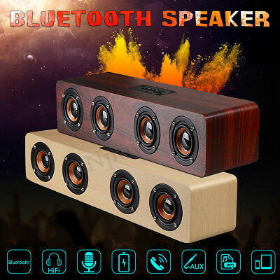 Hi-Fi 3D Loud Quad Speaker Wireless Bluetooth Wooden FM Stereo Radio Super
