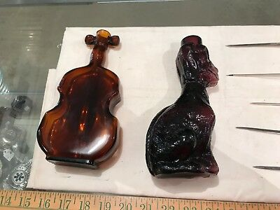 amber violin bottle glass + purple amethyst dog bottle vintage older