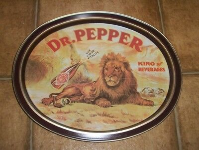 "(1) 1979 NOS Dr Pepper Tin Oval Serving Tray *KING OF BEVERAGES* 143/8"" X 113/4"""