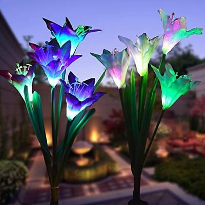 WOHOME Outdoor Solar Garden Stake Lights 2 Pack Solar Flower Lights with 8 Lily