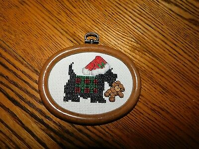 Scottie Dog Cross Stitch Christmas Ornament COMPLETED Handmade