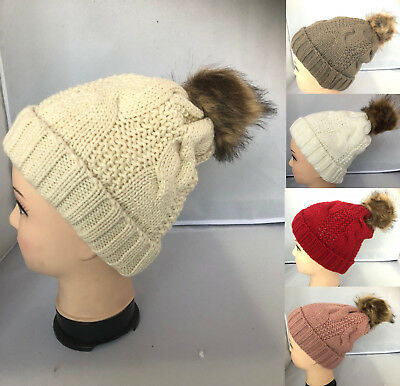fd30d3a0802 Girls Kids 6-13 yrs Winter Cable Knit Slouchy Beanie Oversized Thick Cap Hat