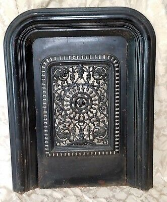 Antique Ornate Cast Iron Fireplace Cover & Surround Antique Insert Floral Grate