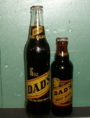 (2) Diff Full (Root Beer) 1960/67 Dads Junior Johnstown Pa 7/16oz ACL Soda Btls