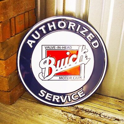 """Buick Authorized Service 12"""" Embossed Round Metal Tin Sign Vintage Garage Car"""