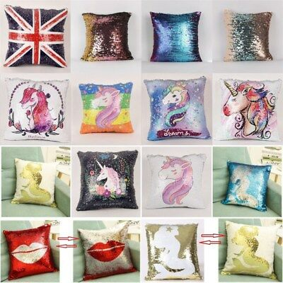Reversible Sequin Unicorn Mermaid Pillow Case Fairy Tale Cushion Cover Decor DIY