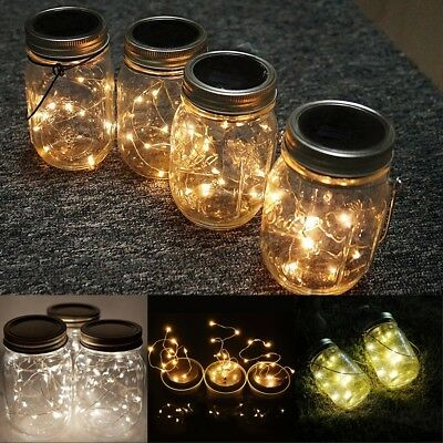 10 LED Mason Jar Solar Light Lantern Patio Garden Lights Deco Hanging Lamps