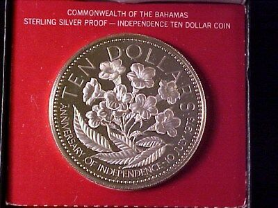 Bahamas $10 Dollars Large Silver Proof Crown 1976 Yellow Elder 1.44 Ounces