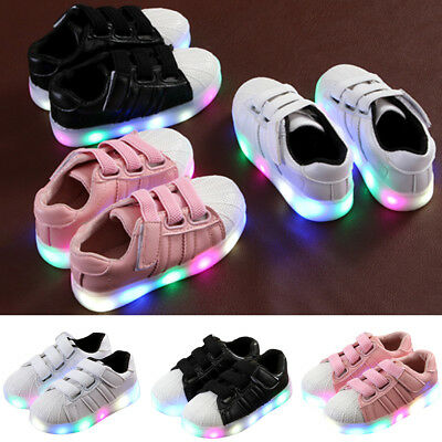 Kids Children Girl Charge LED Boys Girls Light Up Sneakers Flat Shoes Trainer