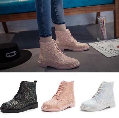 Glitter Sequins Womens Ankle Booties Boots Ladies Casual Lace-up Round Toe Shoes