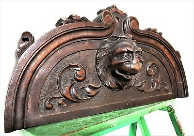 Antique french carved wood gothic griffin devil pediment architectural salvage