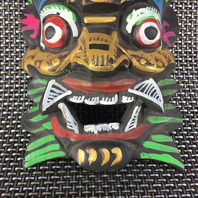 Collectible Old Chinese Wood Handwork Antique paint Devil Masks amulet Statue