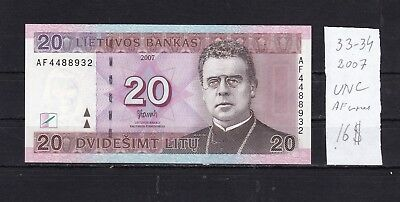 Lithuania  2007  UNC  20 Litu  Bank Note .A F  series  .See scans.