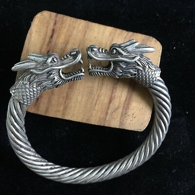 Rare Old Chinese Antique Collectible Tibet Silver Handwork Dragon Head Bracelet
