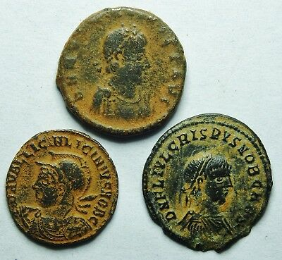 Interesting Selection Of Three Roman Bronze Coins (206H)