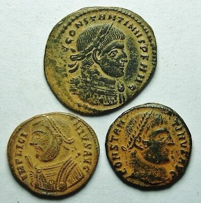 Interesting Selection Of Three Roman Bronze Coins (208H)