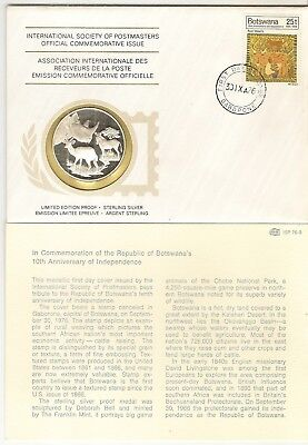 Botswana 1976 Postmasters Society - Silver Coin Cover