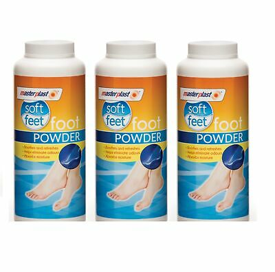 3 x Masterplast Soft Foot Powder Talc Soothes Refreshes Eliminates Odour 170g