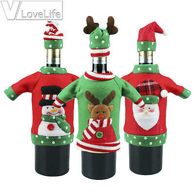 Christmas Sweater Red Wine Bottle Cover New Year Gifts Bag Xmas Party Decor