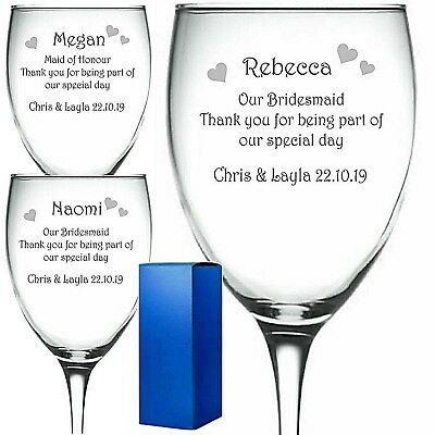 Personalised Engraved Glass Wine Pint Whisky Champagne Wedding Bridesmaid Etc