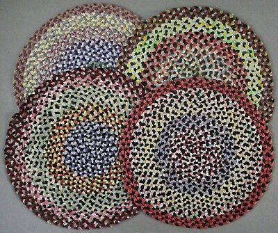"Lot of 4 Antique 12"" Fine Braided Table Mats"