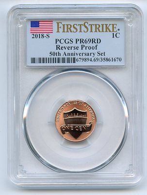 2018 S 1C Reverse Proof 50th Anniversary Lincoln Cent PCGS PR69 First Strike
