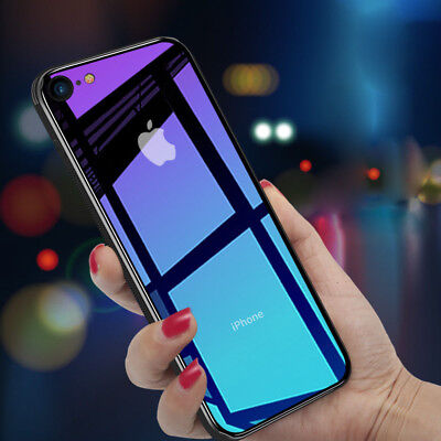 For iPhone Xs Max Xr 8 Gradient Tempered Glass Back Shockproof Hybrid Case Cover