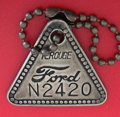 Vintage Tool Check Brass Tag: FORD RIVER ROUGE; Orig. Auto Factory N2420