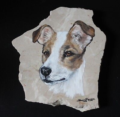 Beautiful Hand Painted by Sherry Morgan on Marble Jack Russell Terrier Portrait