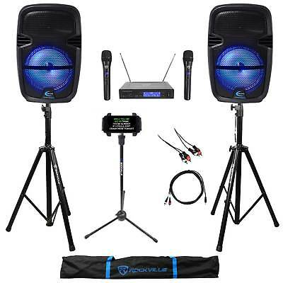 "2) Technical Pro 8"" Rechargeable Bluetooth Karaoke Speakers+Stands+Wireless Mics"