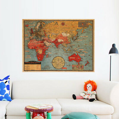 Retro Kraft Paper World Map Wall Sticker Home Office Decor Decal Classic Mural