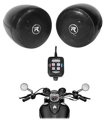 Rockville Motorcycle Bluetooth Audio System Handlebar Speakers For Honda Rebel