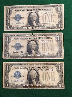 "Three 1928 Silver Certificate $1 Dollar Notes - ""Funny Back"" -  No Reserve"