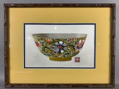 20th C. Chinese Framed Embroidery: Blossoming Flower Bowl