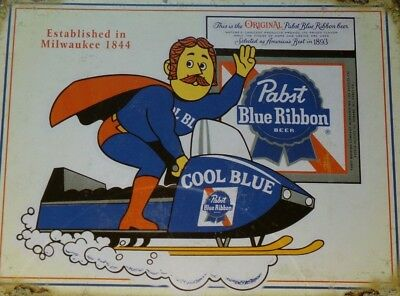Vintage Pabst Blue Ribbon Rare Original-Tin-Snowmobile- Man Cave- Advertising