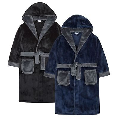 4Kidz Boys Supersoft Fleece Hooded Dressing Gown with Contrast Detail