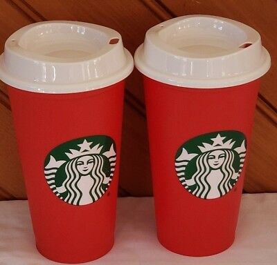 2 New Starbucks Red Reusable Holiday 2018 Travel Cup Limited Edition Grande 16oz