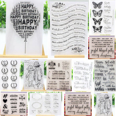Letters Transparent Silicone Stamp Clear Rubber Stamps Cling DIY Scrapbook Card