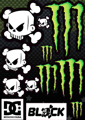 Monster Energy Sticker Sheet Decals Ken Block Skull Dc Shoes Rally Car Vinyl A4