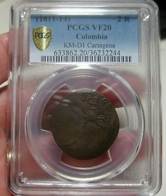 (1811-14) Colombia (2 Reales) Cartagena --Very Rare-- Pcgs  Vf-20