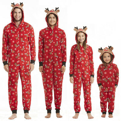 Family Matching XMAS Pajamas Set Adult Kids Reindeer Hooded Nightwear Sleepwear