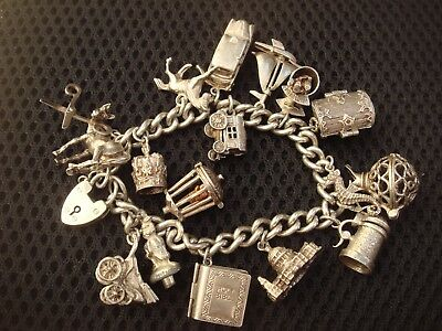 Fine Vintage Solid Sterling Silver Hallmarked Charm Bracelet With Opening Charm