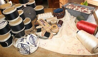 Large Lot of Antique Sewing Items Trim Ribbon Thread Bobbins Paper Labels