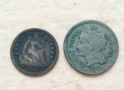 1853 Half Dime & 1866 Three Cent Nickel  .. Lot#100